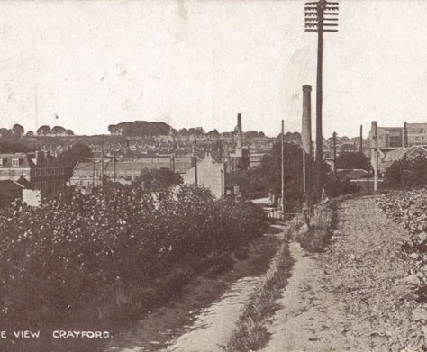 Birds Eye View of Crayford, c.1921. The town is in the distance, with a telegraph pole in foreground. | Bexley Local Studies & Archive Centre