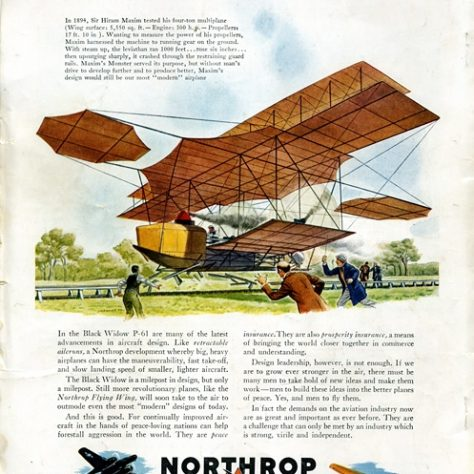 Artists impression of Maxim's Flying Machine. Headline is