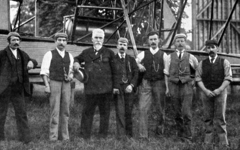 Hiram Maxim (middle) with Crew, Baldwyns Park, 1894 | Bexley Local Studies & Archive Centre