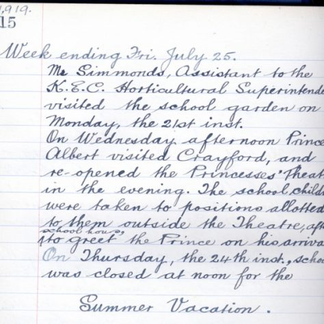 Log book of St Paulinus School, 1919 | Bexley Local Studies & Archive Centre