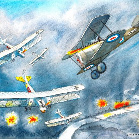 Wilfred Salmon's Sopwith Pup takes on Klimke's Gotha bomber over London July 7th 1917 | Michael Foreman