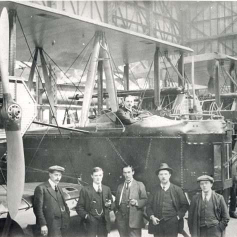 Vickers Crayford aviation workers posing in front of a completed Vimy | Bexley Local Studies and Archives