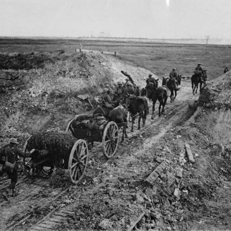 The Ballarat lads. Wiff, Jack and Norman were drivers for the 4th Australian Field Artillery. They would have mounted 3 of the 6 horses pulling an 18 pounder gun   National Library of Scotland.
