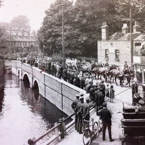 Wilfred Salmon's funeral procession passes over the bridge over the Darent by Holy Trinity church | Kent County Council Dartford Library