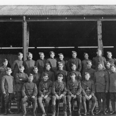 Ground crew pose in front of the transport sheds at Joyce Green. These were adjacent to the Parade ground. | Kent County Council Dartford Library