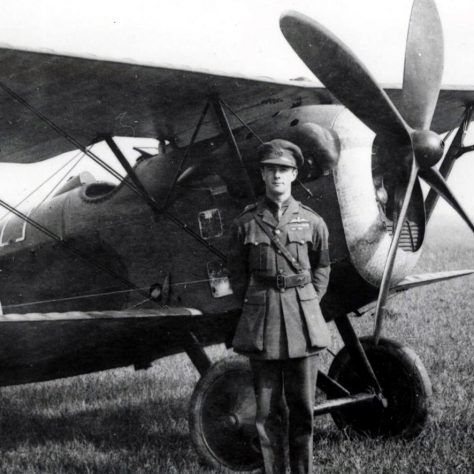 Major James McCudden with his Vickers FB16D fighter plane at Joyce Green 1917 |  Imperial War Museum