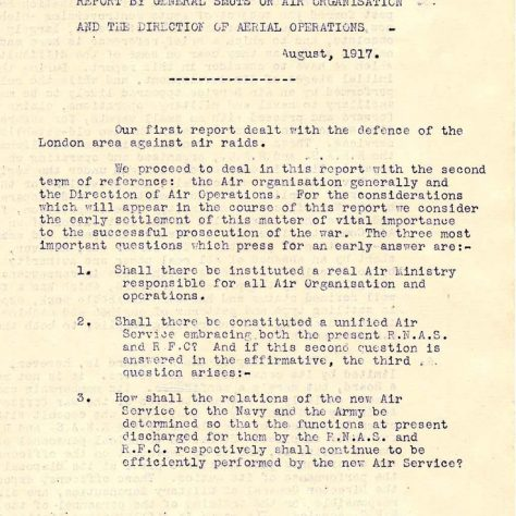 Following the July 7th 1917 Gotha raid Jan Smuts' report recommended the founding of the RAF | RAF Museum