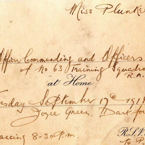 Dance Invite to a Miss Plunkett from 63 Squadron at Joyce Green 1918 | Peter Daniel.