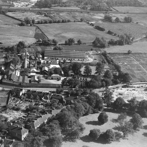 Aerial photograph showing the David Evans factory. | Image courtesy of the Kentish Times Newspaper.