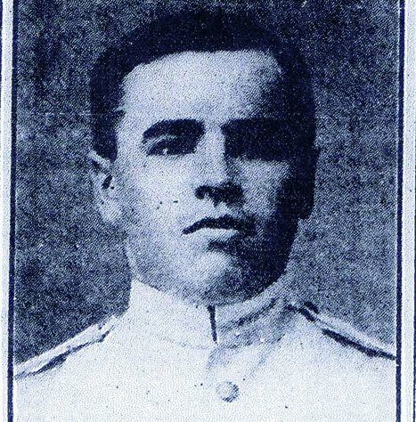 Portrait of Private William White. The man's face looks out, he is dressed in white.