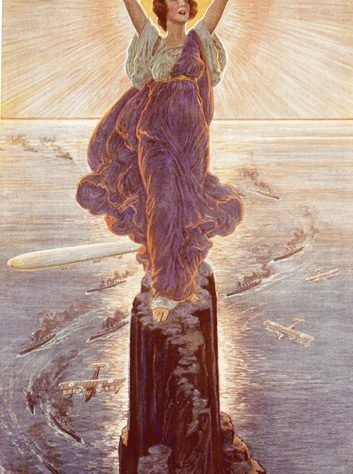 Vickers poster. A woman stands on a rock in long flowing dress, throwing her arms up to the sun.