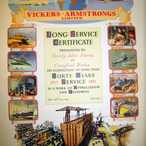 Vickers Long Service Certificate, 1961