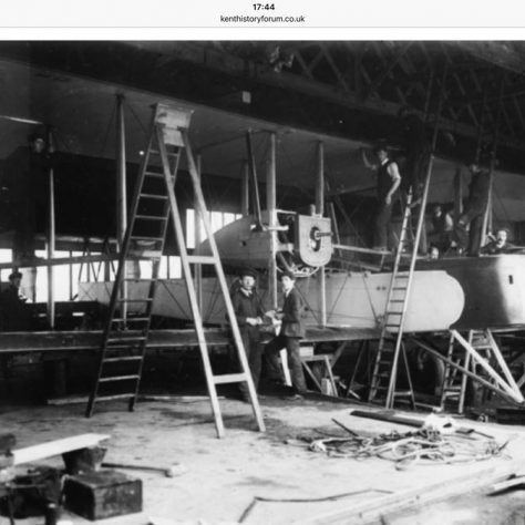 A prototype Vickers Vimy being assembled in the Vickers hangar at Joyce Green 1917 | Kent County Council Dartford Library