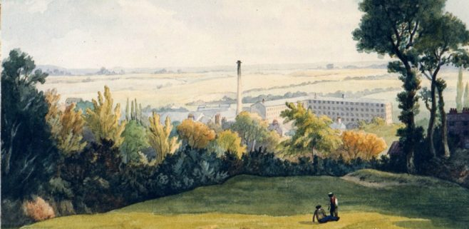 Factory and landscape. Two figures sit on the green field on top of a hill. Beneath them is a large factory with chimney.